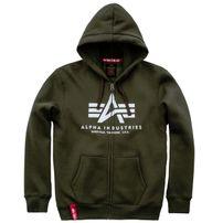 Férfi pulóver Alpha Industries Basic Zip Hoody Dark Green
