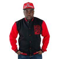 Hoodboyz Left Side HB Logo Contrast College Jacket Black Red