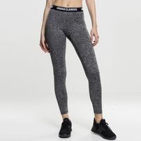 Urban Classics Ladies Active Melange Logo Leggings charcoal/white/black