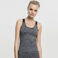 Urban Classics Ladies Active Melange Trainings Top charcoal/white/black