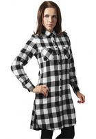 Urban Classics Ladies Checked Flanell Shirt Dress blk/wht