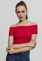 Urban Classics Ladies Off Shoulder Rib Tee fire red