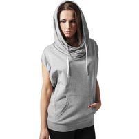 Urban Classics Ladies Sleeveless Terry High Neck Hoody Grey