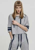 Urban Classics Ladies Taped Short Sleeve Hoody grey/navy