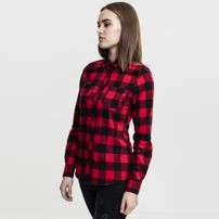 Urban Classics Ladies Turnup Checked Flanell Shirt blk/red