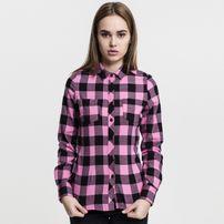 Urban Classics Ladies Turnup Checked Flanell Shirt blk/rose
