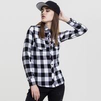 Urban Classics Ladies Turnup Checked Flanell Shirt blk/wht