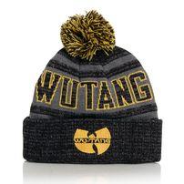 Wu-Tang Winter Bobble Beanie Black Grey Yellow