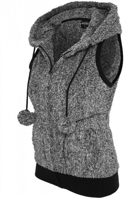 Urban Classics Ladies Melange Teddy Vest blk/wht